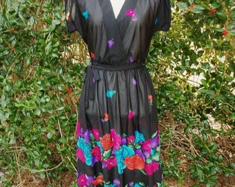 SALE 80s Sheer Black Floral Dress size Small to Medium  Plunging Neckline