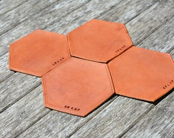 HEX Hexagon Coasters, Man Cave Gifts, Personalized Leather Coasters - Stamped Coasters - hostess gift - bartender gift , gifts for men