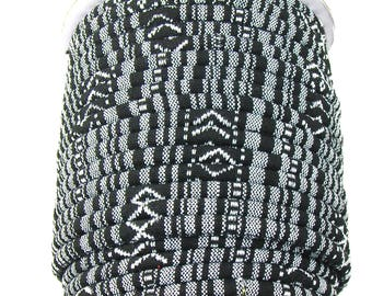 5 feet of 6mm tribal fabric cord in black and white. Large Diameter.