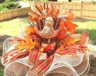 SALE & FREE SHIPPING Turkey, Pumpkins, Leaves - Fall Thanksgiving Centerpiece