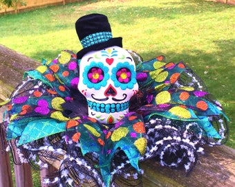 SALE - Colorful Man Skull Dia de los Muertos Sugar Skull - Day of the Dead Halloween Centerpiece