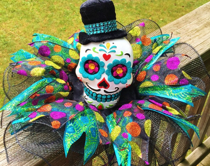 SALE- Colorful Skull Dia de los Muertos Sugar Skull - Day of the Dead Halloween Centerpiece