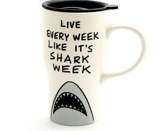 Shark Week Ceramic Travel Mug with Handle