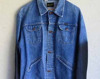 40% OFF CLEARANCE SALE The Vintage Wrangler Dark Wash Wax Dipped Sleeved Jean Jacket
