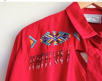 40% OFF Red Aztec Cut-Out Western Shirt
