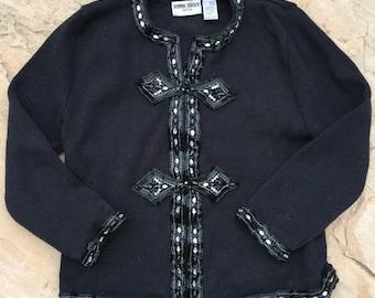 40% OFF The Vintage Bejeweled Gem Black Zip Up Sweater Cardigan