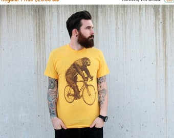 SUMMER SALE Sloth on a Bicycle - Mens T Shirt, Unisex Tee, Cotton Tee, Handmade graphic tee, Bicycle shirt, Bike Tee, sizes xs-xxl