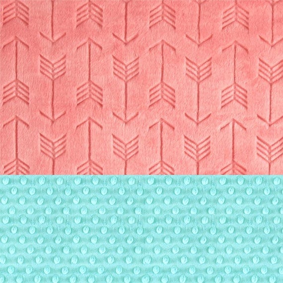 Personalized Baby Blanket For Girl- Minky Blanket - Embossed Arrow Baby  Blanket - Coral Aqua // Arrow Nursery / Coral Arrow Blanket
