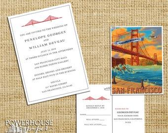 Golden Gate Bridge  San Francisco Vintage Postcard Wedding Invitation