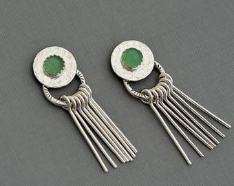 Light green stone sterling silver hammered disc stud earrings front back ear jacket earrings double sided earrings aventurine ear wrap