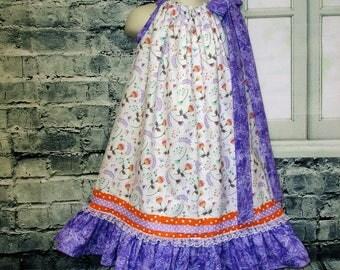 SALE Free Ship!! Girls Dress 5/6 White Purple Flowers and Butterflys Pillowcase Dress, Pillow Case Dress, Sundress