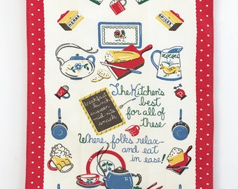 Vintage Kitchen Saying Towel Mid Century Charming Poem