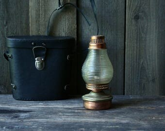 Small Antique Oil Lantern / Camp Lamp/ Glass/ Metal/ Brass/ Vintage From Nowvintage on Etsy