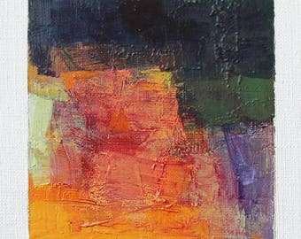 July 4, 2017 - Original Abstract Oil Painting - 9x9 painting (9 x 9 cm - app. 4 x 4 inch) with 8 x 10 inch mat