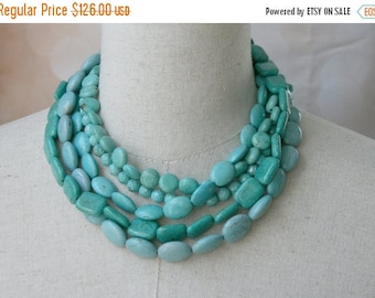 XMAS in JULY SALE Statement Turquoise Multi strand Chunky necklace, Layered Boho Jewelry, Gift for Woman