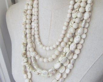 XMAS in JULY SALE White Bone Cream Multi Strand Chunky Turquoise Necklace