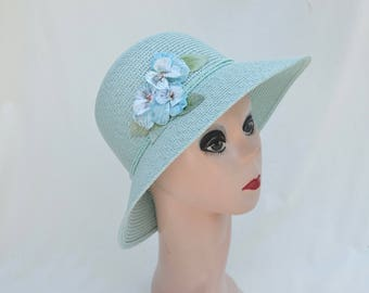 Teal Blue Straw Cloche Hat With Vintage Pansy Trim / Downton Abbey Inspired Cloche Hat / Light Blue Cloche Hat / Vintage Inspired Cloche Hat