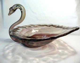 Vintage Glass Swan, Decorative  Bowl, Purple Glass Swan, Vintage Centerpiece,Vintage Home Decor, Unique Vintage Dish, Vintage Swan, Unique