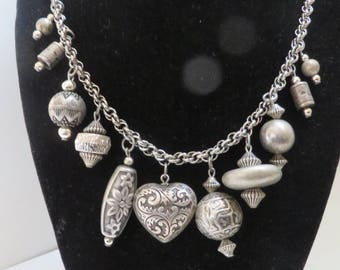 Pretty silver tone double link chain necklace with bead dangles