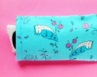 Sunglasses Case Eyeglass Pouch Sleeve Owls Pink Blooms Lightweight Reading Glasses Cover Cute Soft Eyeglass Case