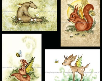 SPECIAL 5x7 fairy critters SET by Amy Brown