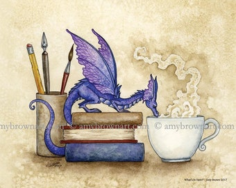 5x7 Whats In Here bookworm dragon PRINT by Amy Brown
