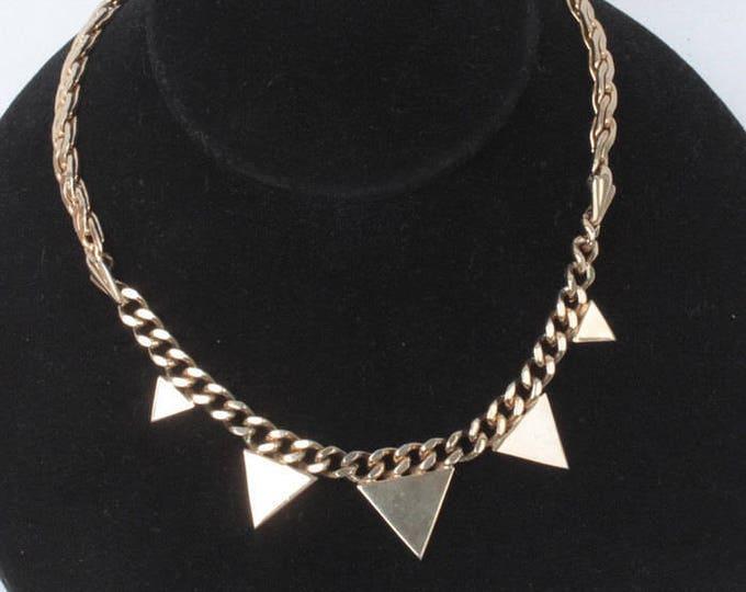 Renaissance Revival Necklace Designer Signed Paris Gold Tone Vintage