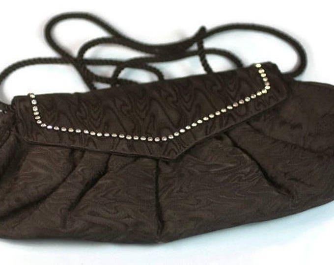 Black Fabric Evening Handbag Purse Rhinestone Accents Whiting and Davis Vintage