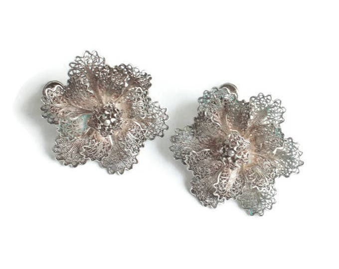 Silver Filigree Flower Earrings Dimensional Layered Screw Back Vintage