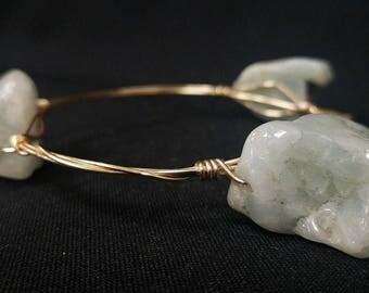 Custom Bracelet Aquamarine on Twisted Brass