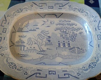 Meat Platter-Antique Blue and White Large Serving Platter - 'Willow' Pattern -- 'SALE FOR CHARITY'