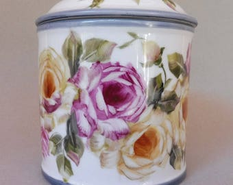 Treat Jar with Pink and Yellow Roses