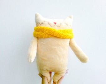 Stuffed cat, stuffed animals, stuffed doll, plush cat, plushies, plush fabric cat, plush baby doll, cloth cat, nursery plush, cat decor