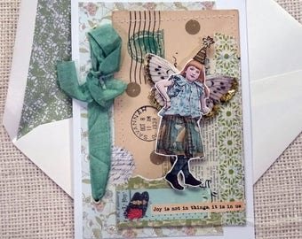 feminine - fairy - JOY- collage - vintage postcard - blank greeting card