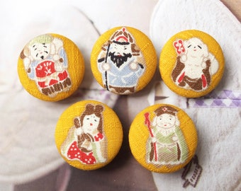 SALE Japanese Holiday Fortune Fairy Tale Traditional Ginger Mustard Yellow Mascot - Handmade Fabric Covered Buttons(1.1 Inches, 5PCS)