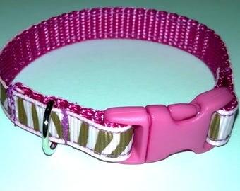 Pink & Brown Animal Print Dog Collar Style Bracelet