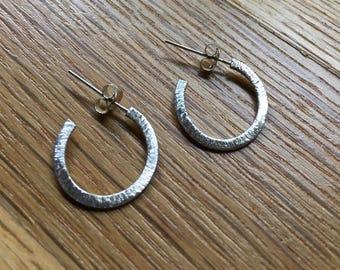 Shimmering Sterling Silver Hoop Post Earrings