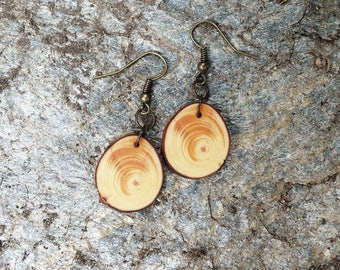 Salvaged Pine Earrings, Wood Dangle Earrings, Boho Earrings, Tree Slice Earrings