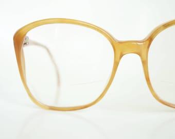 1980s Carmel Wayfarer Eyeglasses Womens Authentic Glasses 80s Eighties Light Brown Fawn Tan Italy Italian Boho Chic Bohemian Sunglasses