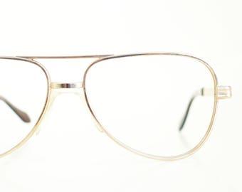 Vintage 1970s Aviator Gold Metallic Shiny Glasses Womens Eyeglasses Retro Eyewear 70s Seventies Golden Classic Sunglasses Sunnies