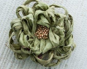Sage Green Fabric Flower Pin, Gray Green Flower Brooch,Green Beaded Flower Brooch