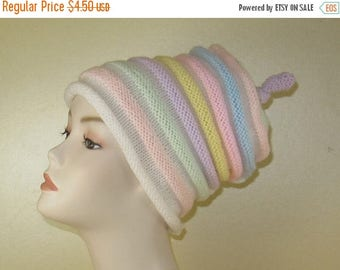50% OFF SALE Instant Digital File PDF Download Knitting Pattern - Candy Stripe Roll Brim Beehive Topknot Slouch