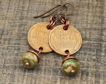 US coin earrings, green rhyolite beads, wheat pennies, copper