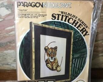 Christmas Sale Crewel Embroidery Kit LION CUB 1978 Paragon Needlecraft Susan Goldsmith Wildlife Series