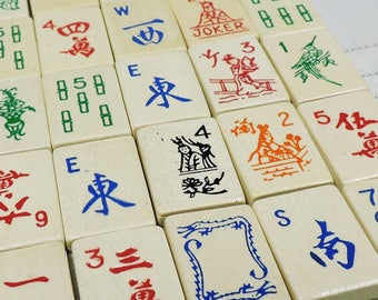 Vintage Mahjong Wood Tiles, Mixed media, Collage supplies, Art supplies, Game pieces