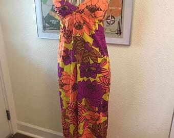 vintage flower power maxi dress