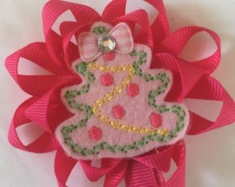 Christmas  tree hot pink ribbon flower girls boutique hair bow hair clip