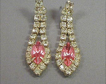 Vintage Pink and Crystal Rhinestone Dangle Post Earrings