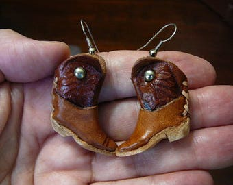 EARRINGS Real Leather Cowboy Western Boot boots pair miniature doll dolls shoe shoes EE-12