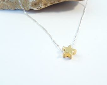 Sterling silver necklace with 24k gold plated sterling silver star